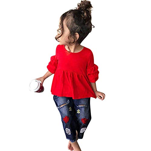 ♡QueenBB Baby Girls Clothes Set Toddler Kids Frill T Shirt Tops+Embroidery Denim Pants Outfit 2Pcs Red