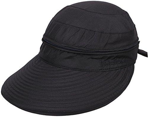 Simplicity Women's UPF 50+ UV Sun Protective Convertible Beach Hat Visor Black