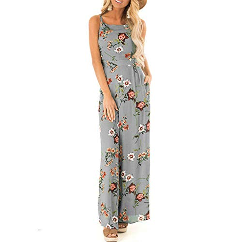 Caopixx Women's Floral Jumpsuits Strap Sleeveless Wide Leg Pants Casual Playsuits Rompers with Belt Gray