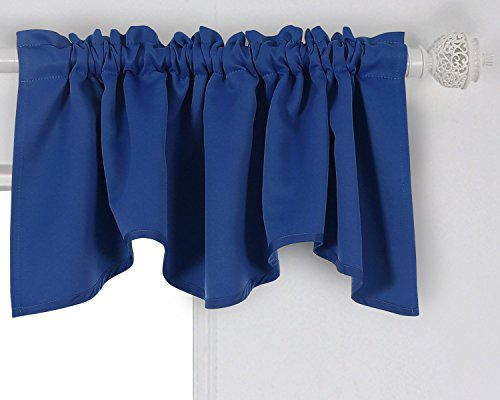 Deconovo Solid Color Rod Pocket Curtains Blackout Curtains Blackout Valance Scalloped Valance for Living Room 52 X 18 Inch Royal Blue 1 Panel