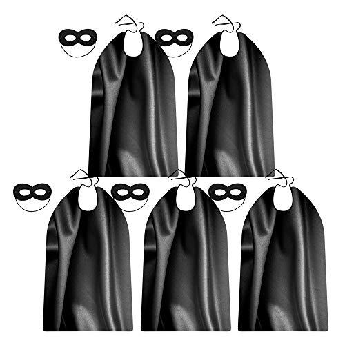 Black Adult Superhero Capes and Masks Bulk Pack for Teenager Men & Women - Dress Up Superhero Party Costumes for Team Building (5 Sets) -