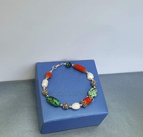 Mediterranean Red Coral Bracelet, Turquoise Bracelet, Dubrovnik Filigree Ball Bracelet, White Pearl Bracelet *Exp Shipping