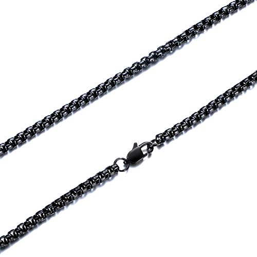 FEEL STYLE 3mm Stainless Steel Black Rolo Necklace for Men Women - Box Cable Chain Jewelry 20 Inch
