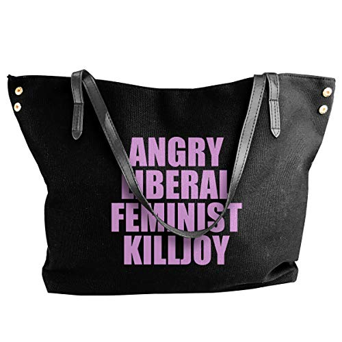 JEFFERYjSPARKS Angry Liberal Feminist Killjoy Women Fashion Shoulder Bags, Canvas Tote Bag, Large Capacity Bags