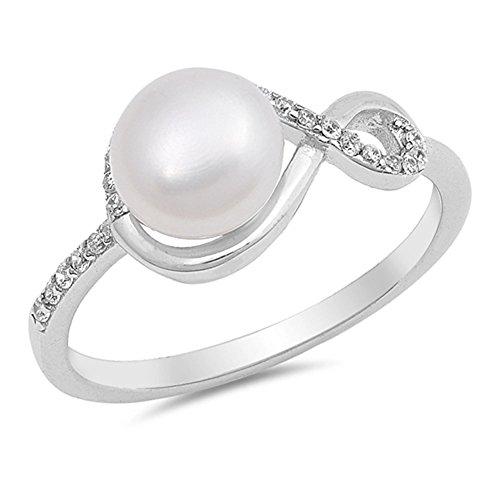 Clear CZ Simulated Pearl Infinity Ring New .925 Sterling Silver Band Sizes 5-10