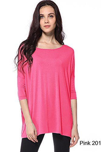 Piko Women's 1988 Famous 3/4 Sleeve Bamboo Top Loose Fit Pink L