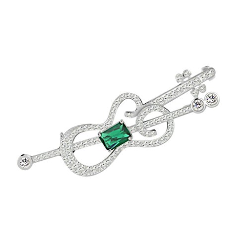 (Adisaer Womens White Gold Plated Brooches and Pins for Wedding Hollow Violin Square Green Cubic Zirconia)