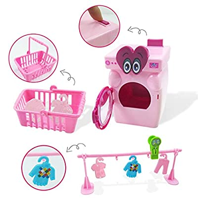 Xuways Toys 17Pcs Home Cleaning Set Toys Role Pretend Toys Broom Washing Machine Toy Gift for Kids Toddlers Boys Girls: Home & Kitchen
