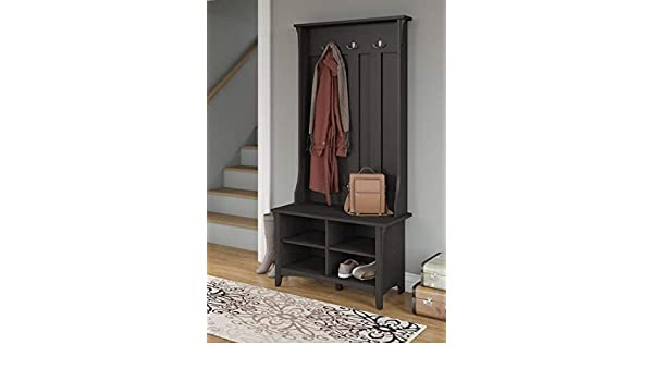 Amazon.com: Hall Trees with Bench and Coat Racks - Vintage Black Wood with Three Hooks and Four Cubbies - Organizing Your Space with Sophistication: Home & ...