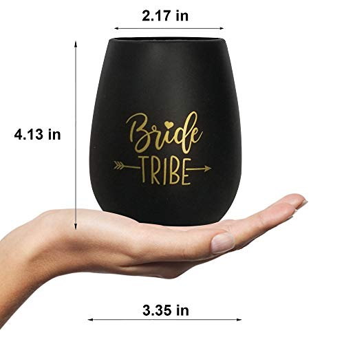 (Bride Tribe Bachelorette Silicone Wine Glass, Single Black and Gold, Bachelorette Party Favors, Bridesmaid Proposal Box, Bridesmaid Gifts, Bachelorette Parties, Wedding Favor, Bridal Showers)