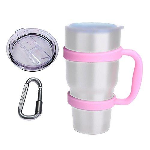 Umiwe Anti-Slip Handle for Yeti Rambler Ozark Trail 30 Oz Tumbler Colorful Cup Mug Grip Holder with Sliding Lid & Carabiner (Pink)