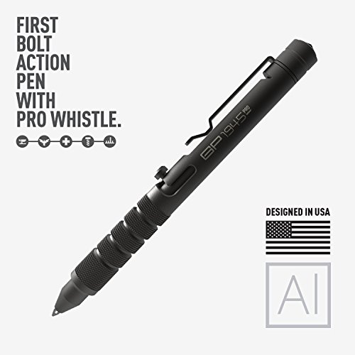 GP 1945 Bolt Action Pen -Machined Titanium/Aluminum, Multi-Tone Whistle, Breaker Integrated. USA. (Aluminum - JetBlack)