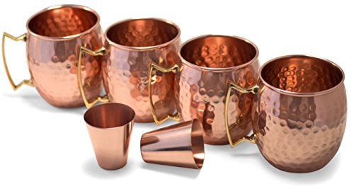 Owl Creek Handmade Moscow Mule Copper Mugs, Set of four 18 oz Hammered Cups and two 2 oz Copper Shot Glasses by OwlCreek