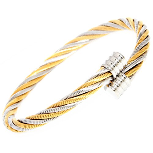 Polished Silver Veins Cap End Gold Silver 2-Tone Twisted Cable Wire Stainless Steel Bangle Bracelet