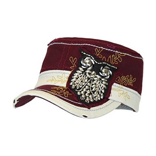Dark Red Wine Bling Owl Cotton Military Cap, Adjustable Flat Top Baseball Hat