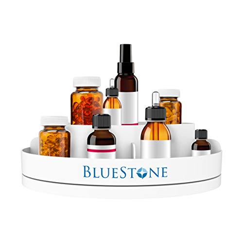 Bluestone Lazy Susan Pill Holder-360 Revolving Turntable Medication Storage Organizer Caddy-5 Compartments for Pills, Vitamins, or Supplements