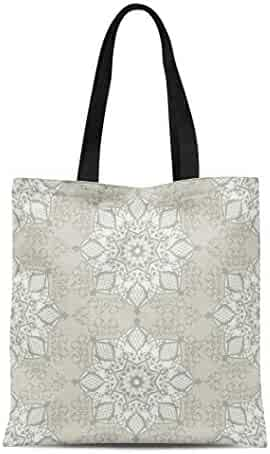 c500a4597 Semtomn Canvas Tote Bag Shoulder Bags Beige Ancient Vintage Abstract in  Subtle Shades of White Women's