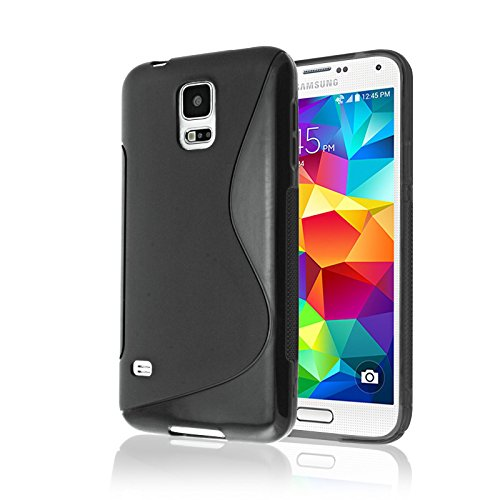 Samsung Galaxy S5 Case, Galaxy S5 Phone Case [RUBBER] by Cable and Case(TM) - Transparent Black Soft Non-Slip Soft Jelly Skin Cover With Vibrant Trendy Colors And Sure Grip Texture (Black) (Cowboy Belt Frame)