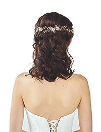 Floral Gold bridal hair accessories Handmade Pearl Hair Jewelry Wedding Accessories Headband Women Headpiece