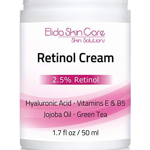 Retinol Cream - Best Moisturizer for Face 2.5% Retinol with Hyaluronic Acid Vitamin E Vitamin B5 Jojoba Oil Green Tea Shea Butter - Wrinkle Cream for Women and Men by ElidaSkinCare