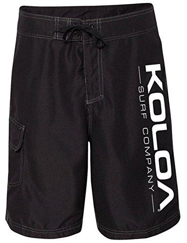 Koloa Surf Co.(tm) Black Boardshorts with White Logo - Mens Waist Size 40