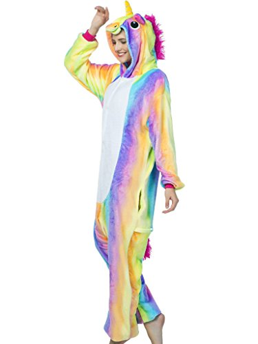 Adult Pajamas Unicorn Costume Onesies for Women Men Teens Girls Animal Rainbow M,New Rainbow Unicorn,M Fit Height 63
