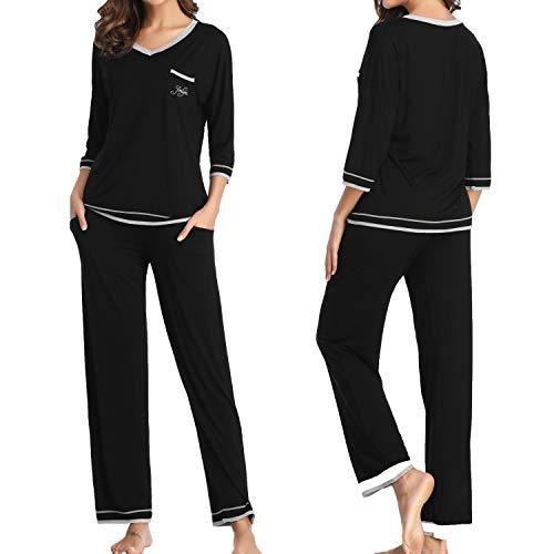 Womens Workout Suits Set 2 Piece Sports Outfit Yoga Sets Shirt Loose Pants Joggers Tracksuit Sportswear Set - Black S