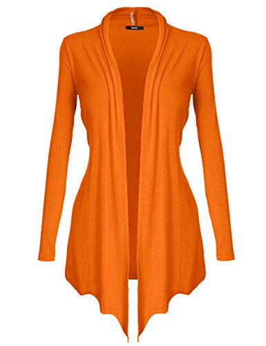 [DRSKIN] Women's Open - Front Long Sleeve Knit Cardigan (S, Orange) (Sweater Orange Cardigan)