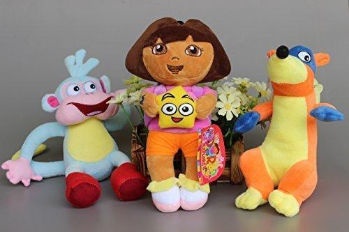 [Dora the Explorer Boots Monkey Swiper Fox Dora 9-10 Inch Toddler Stuffed Plush Kids Toys 3 Pcs/set by] (Dora Diego And Boots)