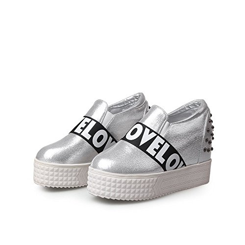 VogueZone009 Women's Solid PU High-Heels Round Closed Toe Pull-On Pumps-Shoes Silver 5vNo5J