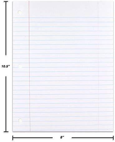 Emraw Breit Liniertes Füllpapier, perfekt für normales Notizen, 26,7 x 20,3 cm, 100 Blatt (100 Blatt pro Packung) (2 Stück)