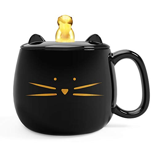 Gold Lover Watch (Koolkatkoo Cute Cat Coffee Mug with Cell Phone Holder Lid for Cat Lover Unique Ceramic Tea Mugs with Gold Cat Porcelain Cup Gift for Women Black)