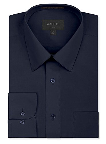 Ward St Men's Regular Fit Dress Shirts, Small, 14-14.5N 30/31S, Navy Charcoal ()