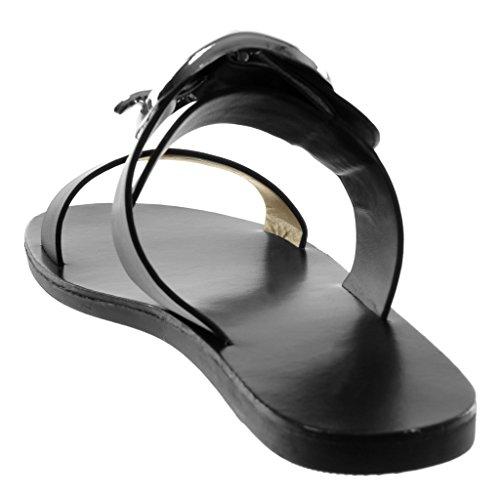 Angkorly Damen Schuhe Sandalen Mule - Slip-On - Schleife - String Tanga Flache Ferse 1 cm Schwarz