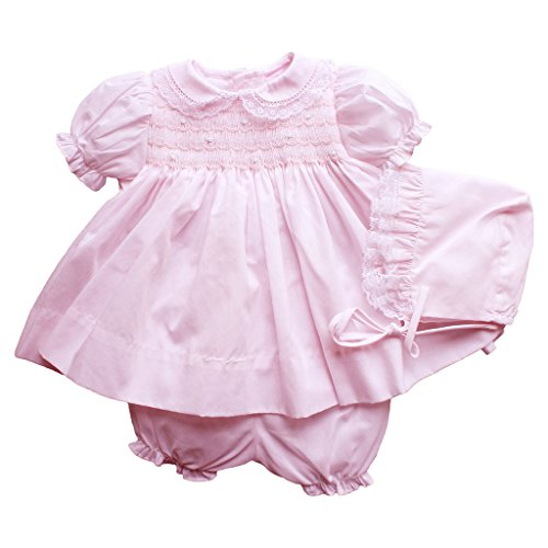 Petit Ami Dress and Bloomer With Smocking and Lace in Pink 3 Month Pink