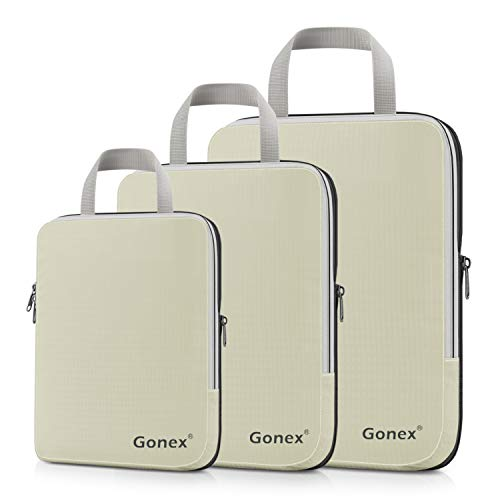 Packing Cube Leather - Compression Packing Cubes, Gonex Travel Organizers Upgraded 3PCS L+M+S(Beige)