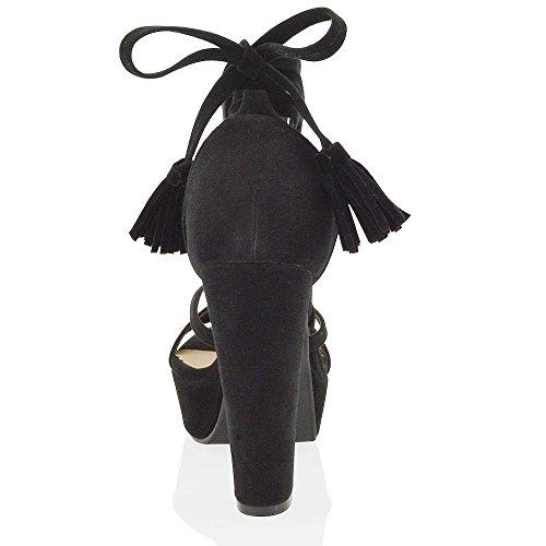 f931c3d3ddf Essex Glam womens faux suede high block heel tie up platform sandals 85%OFF