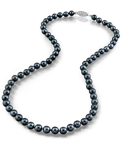 THE PEARL SOURCE 14K Gold Round Genuine Black Japanese Akoya Saltwater Cultured Pearl Necklace in 18 Princess Length for Women