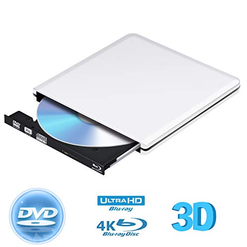 External Blu Ray DVD Drive 3D 4K,Bluray Player DVD CD Opitical Disc Burner for PC Windows Mac os