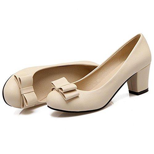 TAOFFEN Court Women's Shoes On 44 Elegant Beige Slip zzPB4g7q