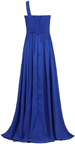 Purple Chiffon Damen Kleider Abendkleider Blue Royal Lang Brautjungferkleider Fanciest One Ballkleider Shoulder zZpScqBw