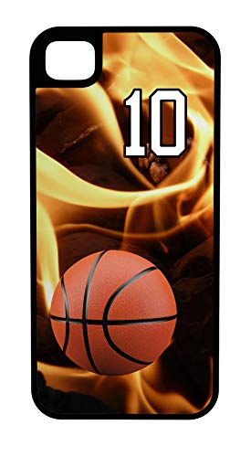 iPhone 6s Case Basketball Bucket Customizable Tough Case by TYD Designs in Black Plastic and Black Rubber with Team Number 10 ()