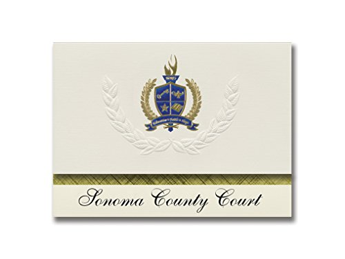 Signature Announcements Sonoma County Court (Santa Rosa, CA) Graduation Announcements, Presidential style, Basic package of 25 with Gold & Blue Metallic Foil seal ()