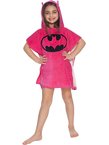 DC Comics 'Batgirl' Batman Bat Logo Superhero Hooded Bath Beach Swim Poncho Towel, Pink, 4-7 -