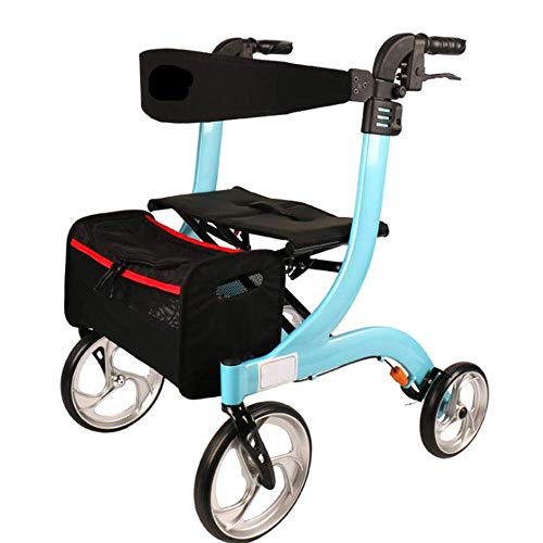 ZGYQGOO Elderly Aluminum Four-Wheeled Walking Shopping Cart Resting Chair Walking Car with Wheeled Seat Stroller Walker Aluminum Seat Folding Roller Cart