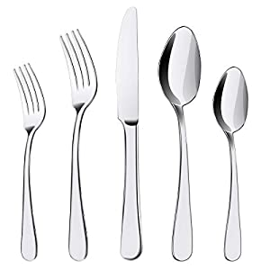 Silverware Set, 20 Pieces Flatware Cutlery Set ENLOY Stainless Steel Utensils Service for 4, Heavy Duty Gift and… 11