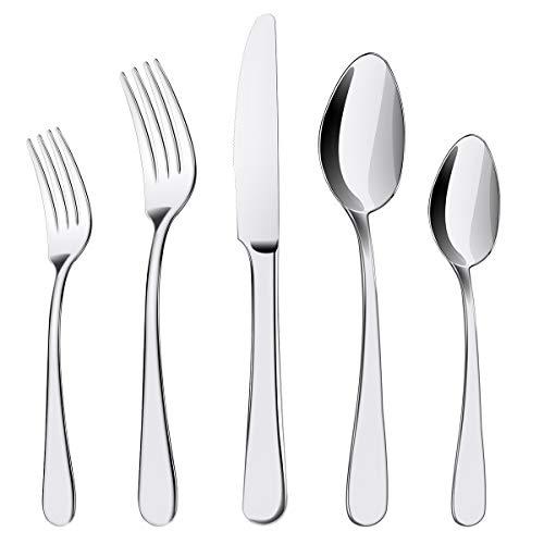 ENLOY 20 Pieces Flatware Set, 18/0 Stainless Steel Utensils, Service for 4, Heavy Duty SilverwareGift, Heavyweight Cutlery, Dishwasher Safe, Mirror Polished Dinner Knife, Fork, Spoon for Restaurant (Silverware Set Small)