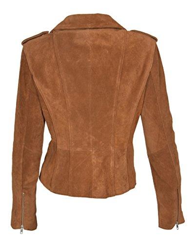 Claro House Skylar Biker Piel Ajustado Chaqueta Ante de Estilo Marrón Retro Mujer Leather Of Auténtico 4q6wrS4x