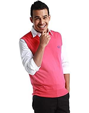Green Label Men's Pink V-Neck Vest
