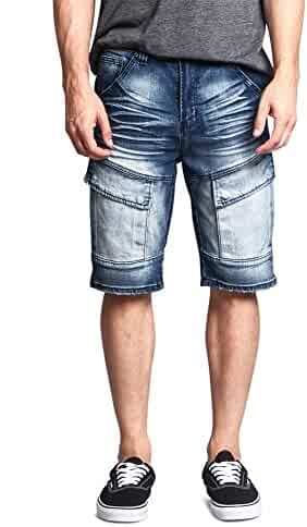 ab92f0a2ac7a8 Victorious G-Style USA Men s Cargo Pocket Ribbed Distressed Biker Moto  Style Shorts